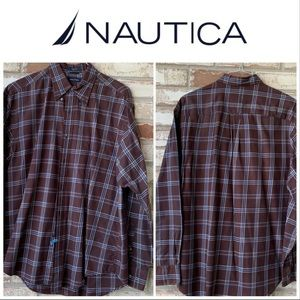 Large Nautica Burgundy-Blue-Brown LS Dress Shirt